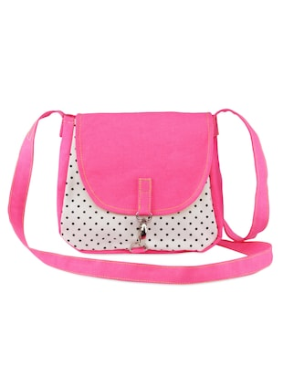 Polka print white and pink bag