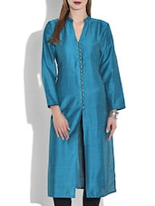 teal blue full sleeved silk kurta -  online shopping for kurtas
