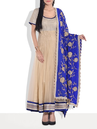 beige n royal blue embellished anarkali suit set