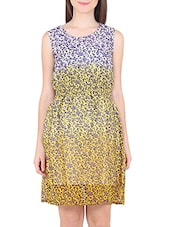 White And Yellow Georgette Printed Dress - By
