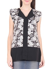White And Black Polyester Printed Top - By