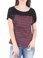 Red And Black Polycrepe Printed Top - By