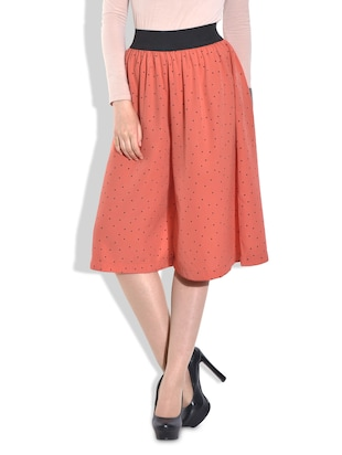 Orange polka-dotted poly crepe culottes