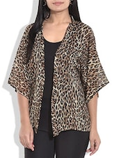 Brown And Black Leopard Printed Georgette Shrug - By