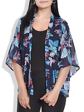 Navy Blue Floral Printed Georgette Shrug - By