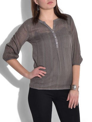 Grey quarter sleeved cotton top