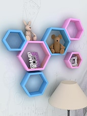 Set Of 6 Blue And Pink Hexagon Mounted Shelves - By