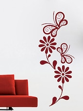 Flower With Butter Fly  Wall Decal - By