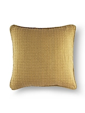 Beige Polycotton Jacquard Cushion Cover - By