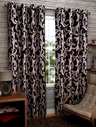 brown printed door curtain