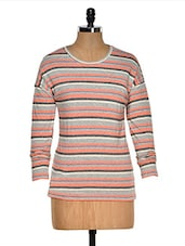 Red And Grey Color Stripped Round Neck T-shirt - Hypernation
