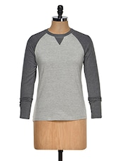 Grey Color Round Neck Full Sleeves Casual T-shirt - Hypernation