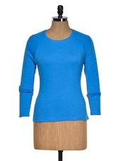Blue Color Long Sleeves Casual T-shirt - Hypernation