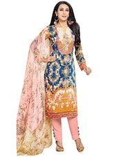 Multicolored Printed Semi-stitched Suit Set - By - 9665989