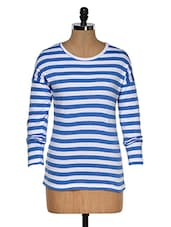 Blue And White Color Stripped Round Neck T-shirt - Hypernation