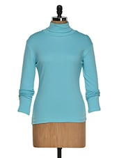 Aqua Color Full Sleeves Casual High Neck T-shirt - Hypernation