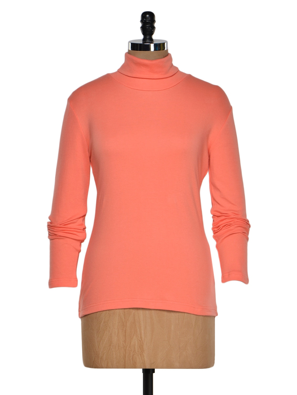 Coral Color Full Sleeves Casual High Neck T-shirt - Hypernation