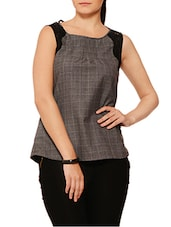 Grey N Black Checkered Top With Lace Work - By
