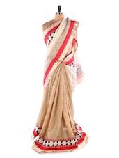 Gold &  Cream Jute &  Net Heavy Border Party Wear Saree - Suchi Fashion