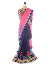 Pink ,Blue Chiffon &  Net Heavy Embroidery Party Wear Saree - Suchi Fashion
