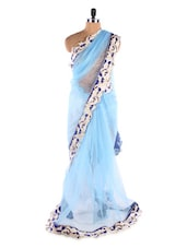 Blue &  White Heavy Border With Koti Style Blouse Net Designer Bollywood Replica Saree - Suchi Fashion