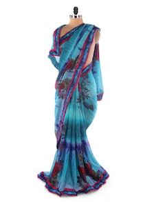 Sky Blue Georgette Printed Saree With Lace Border - Suchi Fashion