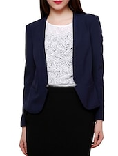 Solid Blue Full Sleeved Blazer - By