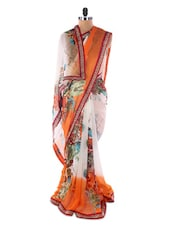 White &  Orange Georgette Printed Saree With Lace Border - Suchi Fashion