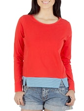 coral pullover with striped hem -  online shopping for Pullovers