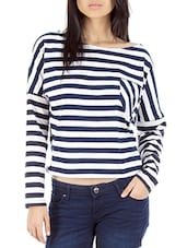 Navy Blue N White Striped Pullover - By