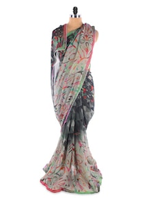 Grey Georgette Printed Saree With Lace Border - Suchi Fashion