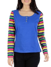 Multicolored Top With Striped Sleeves - By