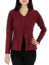 Solid Maroon Full Sleeved Jacket - By
