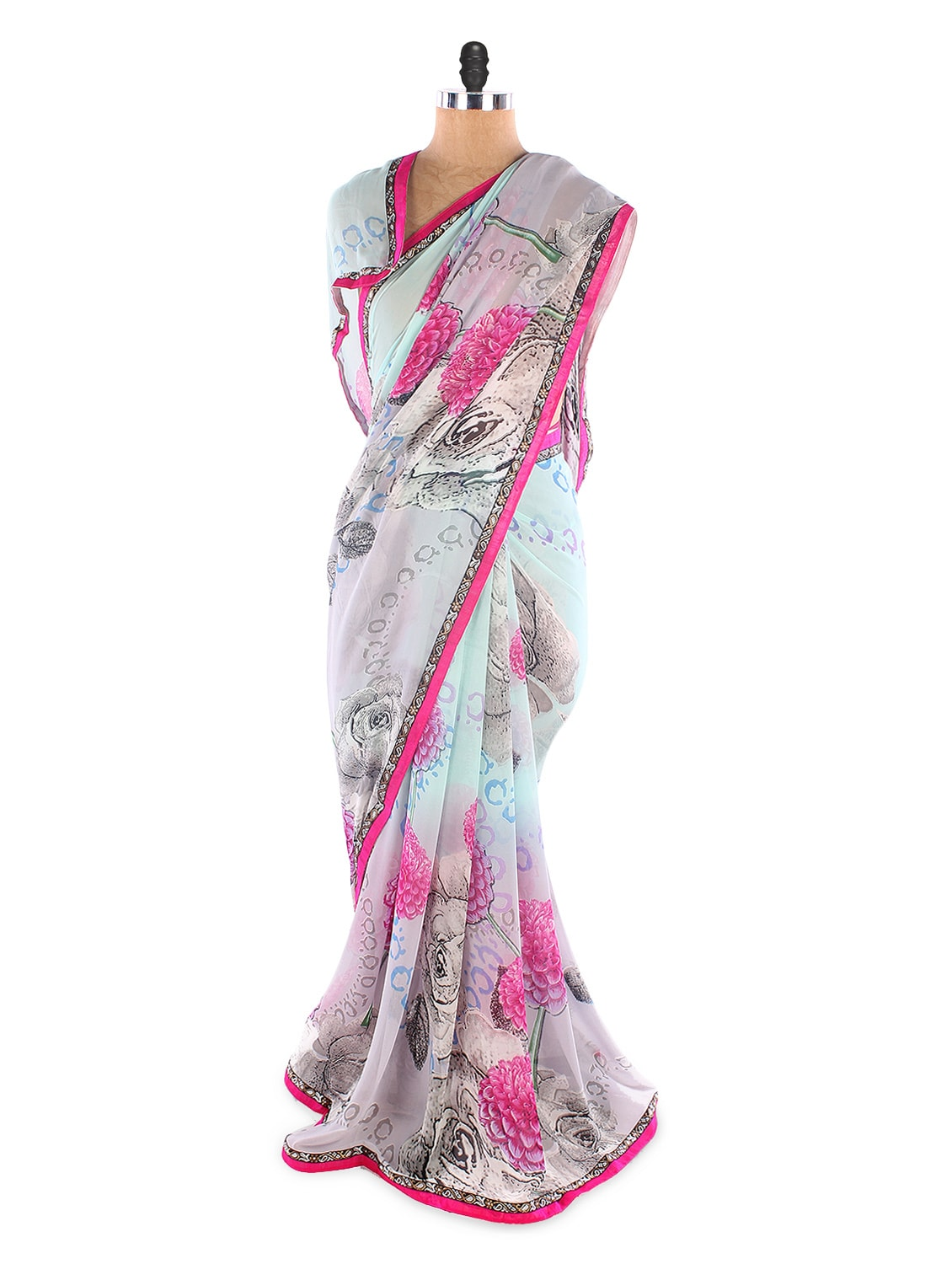 Weightless Georgette Printed Saree With Lace Border - Suchi Fashion