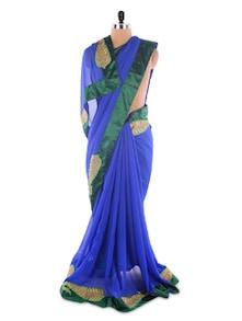Embroidered Leaf Dark Blue &  Green Saree - Suchi Fashion