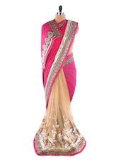Heavy Embroidered Red &  Yellow Gold Saree - Suchi Fashion