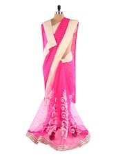 Pink &  Silver Heavy Embroidered Saree - Suchi Fashion