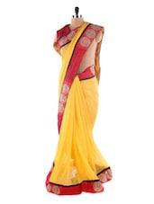 Banana Yellow Saree With Red Embroidered  Border Saree - Suchi Fashion