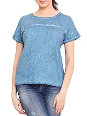 Blue Cotton Short Sleeved Top - By
