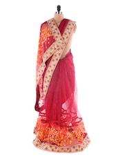 Maroon Color Heavy Embroidery Saree - Suchi Fashion