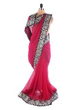 Maroon Color Heavy Embroidered Saree - Suchi Fashion