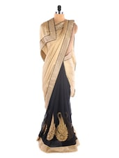 Beige& Black Crepe &  Chiffon Heavy Patli Saree - Suchi Fashion
