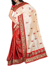 Red And Cream Jacquard Silk Saree - By