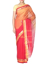 Red And Orange Cotton Tant Saree - By