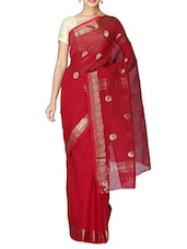 Red Cotton Tant Saree - By
