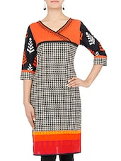 Beige And Black Printed Cotton Kurta - By