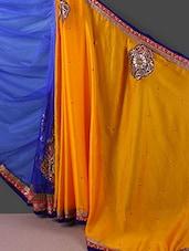 Yellow And Royal Blue Embellished Saree - Manvaa