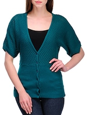 Teal Green Woven Short Sleeved Cardigan - By