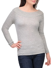 Grey Full Sleeved Boat Neck Pullover - By