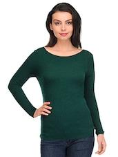 Dark Green Boat Neck Pullover - By